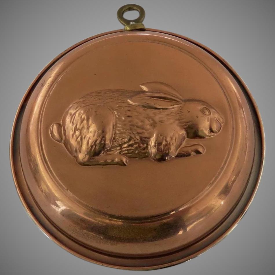 Vintage copper rabbit mould